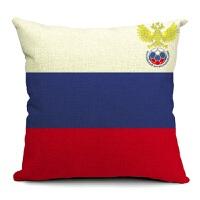 欧洲杯德法西班牙意大利队徽棉麻抱枕沙发靠垫足球迷礼品 其他队请备注 外套