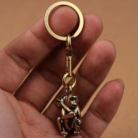 复古创意铜黄铜十二生肖猴子钥匙扣挂件吊坠饰品项链配饰小礼物 万向旋转 平圈款