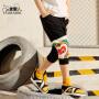 小虎宝儿男童七分运动短裤夏季薄款儿童黑色纯棉中大童外穿