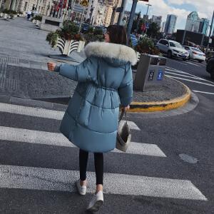 Freefeel 2018秋冬新款羽绒服女装棉衣中长款修身显瘦连帽毛领大衣女xy8806