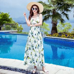 RANJU 然聚2018女装夏季新品新款泰国巴厘岛女装海边度假沙滩裙露背吊带连衣裙波西米亚长裙