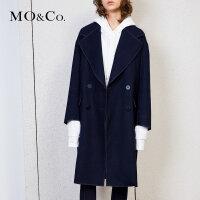 MOCO毛呢复古小香风外套女中长款绿色呢子大衣MA171OVC103 摩安珂