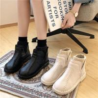 平跟雪地靴女冬季套脚学生保暖面包鞋防滑棉鞋森