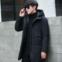 青年棉衣男大码中长款冬季棉袄休闲连帽男士外套简约加厚 黑色 M
