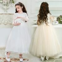 缎面蕾丝精致刺绣长袖公主裙中大童花童礼服生日表演蓬蓬裙