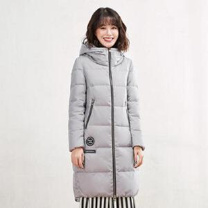 高梵修身韩版时尚外套 2017新款显瘦个性加厚连帽中长款羽绒服女