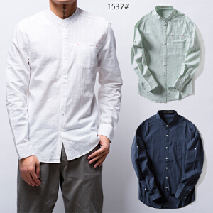 【2017新品】艾酷狼男士新款韩版白色亚麻衬衫男长袖休闲棉麻衬衣简约修身寸衫男装潮