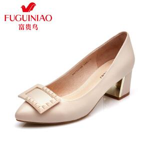 富贵鸟时尚头层羊皮 尖头套脚粗跟女鞋 浅口工作女单鞋 夏季新款