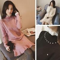 2017新款韩版甜美蕾丝拼接钉珠中长针织连衣裙毛衣女装 均码