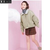 20秋韩版毛呢外套羊羔毛翻领大衣女加厚短款呢子夹克短外套