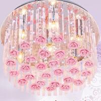 变色玫瑰花LED水晶灯浪漫婚房卧室吸顶灯新家居灯饰客厅灯创意灯