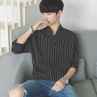 短袖衬衫男夏季韩版潮流学生小清新休闲条纹七分袖衬衣男宽松衣服