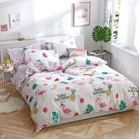 ins�L��s棉床上用品四件套棉床�稳�4三件套�W�t被套床笠夏季 �\灰色 趣味森林