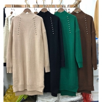 E1秋款毛衣女套头加厚韩版中长款钉珠半高领针织衫打底裙0.75