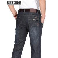 JEEP吉普牛仔长裤男装春夏水洗做旧微弹休闲裤男士简约直筒黑色牛仔裤子