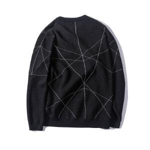 【限时抢购到手价:96元】AMAPO潮牌大码男装秋季加肥加大宽松圆领套头长袖毛衣加厚针织衫