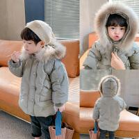 男童大毛领冬季宝宝洋气棉衣儿童保暖连帽棉袄