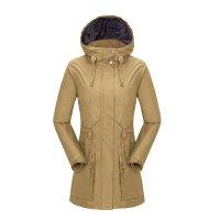 新款女式冲锋衣厚保暖外套登山服 驼色 175/XL