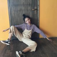 港味复古chic韩风Polo领长袖针织衬衫+宽松显瘦阔腿裤背带连体裤
