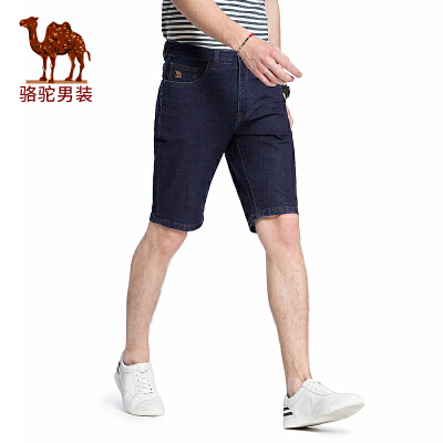骆驼男装 2018夏季新款五分牛仔裤潮男短裤子直筒五袋款裤