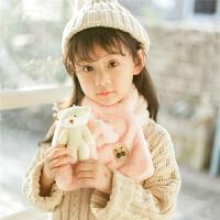 日韩系秋冬围巾儿童仿皮草围巾男童女童小熊围脖冬季宝宝围脖