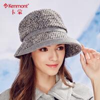 kenmont冬天女士毛呢帽子英伦羊毛呢保暖盆帽时尚优雅礼帽大沿帽2385