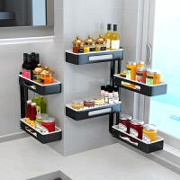 家用厨房置物架转角旋转调料架免打孔壁挂式多功能收纳架子省空间 p1p