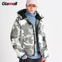 森马潮牌GLEMALL【加厚保暖】时尚潮迷彩简约徽章外套连帽运动男羽绒服