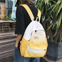 时尚帆布双肩包女2019新款韩版高中大学生背包渐变色书包 黄色 上方布标