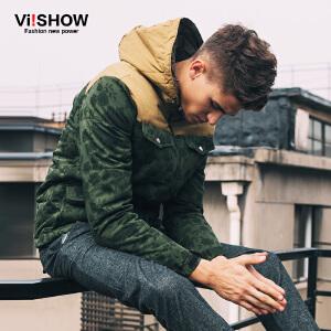 viishow男装新款冬装棉服 植物印花保暖撞色拼接男士冬外套