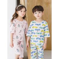 kk树儿童空调家居服夏季可爱男童女童宝宝睡衣短袖纯棉幼儿套装薄款潮