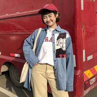春季女装韩版宽松原宿风百搭字母条纹牛仔衬衣长袖休闲衬衫外套潮