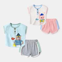 婴儿薄款套装小童夏装男两件套夏季新生儿衣服宝宝背心夏天短裤女