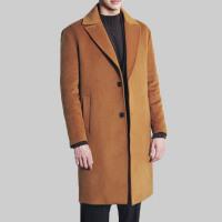 2017新款时尚秋冬韩版毛呢大衣男中长款宽松翻领加厚羊绒风衣外套