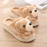 棉拖鞋秋冬季可爱小熊卡通居家女生棉拖鞋毛毛绒保暖室内加厚底