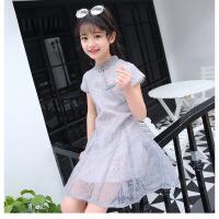 2018童装女童韩版儿童裙子新款中大女孩子复古旗袍裙蕾丝花边 浅灰色