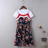 V9吊带裙套装女夏新韩版短袖T恤上衣碎花连衣裙两件套裙子0.3