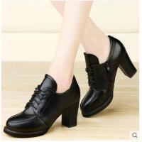 古奇天伦黑色工作鞋粗跟高跟鞋英伦风女鞋春秋季新款复古皮鞋TYU7885