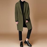 2017新款学生毛呢羊绒大衣男青年韩版宽松风衣男中长款冬呢子外套 军绿色 S