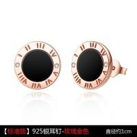 黑色圆形925银耳钉女气质日韩国个性玫瑰金耳环简约冷淡风耳饰