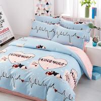家纺四件套棉纯棉简约夏季网红被套床单1.8m米床上用品