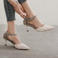 法式少女尖头性感细高跟鞋户外时尚一字带豹纹女士凉鞋仙女风