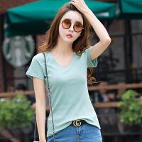 夏季新款韩版V领修身显瘦T恤纯色短袖鸡心领针织螺纹上衣