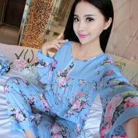 韩版全棉睡衣 夏季女长袖全棉休闲家居服套装梭织棉布棉绸套装