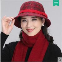 气质精美花纹蝴蝶结毛线渔夫帽围巾女羊毛针织盆帽女中老年人帽子