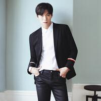 上市爆版百搭款男士西服袖子印花小西装韩版西装男潮