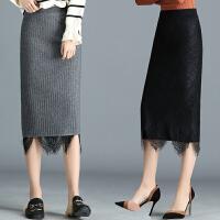 秋冬装女装半身裙子高腰显瘦针织裙两面穿蕾丝裙春秋中长款包臀裙