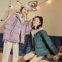 【新品359.9元】唐狮冬季新款羽绒服女假两连帽羽绒服女短款时