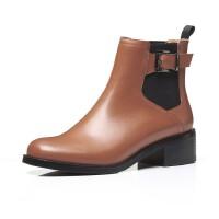 年秋季皮带扣真皮女靴子方头粗跟低跟套脚单靴马丁靴