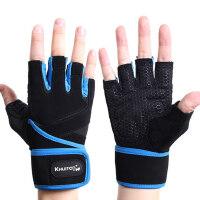 男女加长护腕加厚海绵健身手套 训练哑铃防滑硅胶健身房半指吸汗户外运动手套